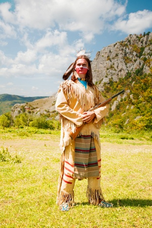indian tribe: North American Indian in full dress. Reconstruction