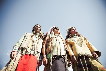 american indians: Group of North American Indians about a wigwam