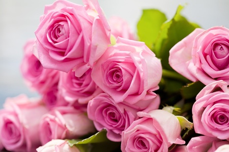 untruth: bouquet of pink roses lies on a pool side