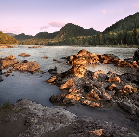 Beautiful evening landscape on the river. Mountain Altai. photo