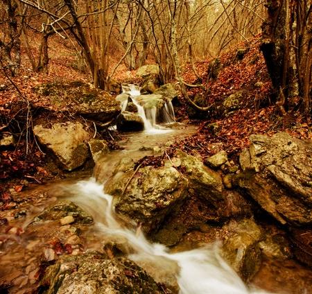 waterfalls in mountains. Stock Photo