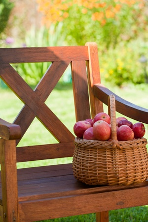 basketful: basketful of apples costs on a wooden chair Stock Photo