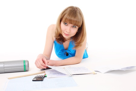 girl-student prepares for employment Stock Photo - 10890821
