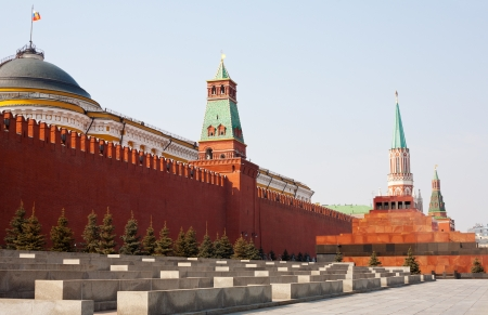 moscow churches: Day view of the Red Square, Moscow Kremlin and Lenin mausoleum, Moscow, Russia