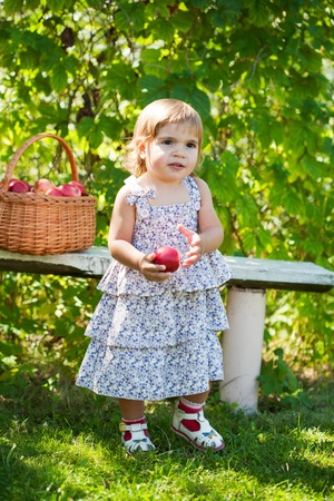 little girl sits on a bench with a basket of apples Stock Photo - 11008976