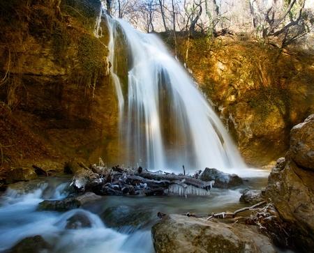Winter waterfalls in mountains. Stock Photo - 11008860