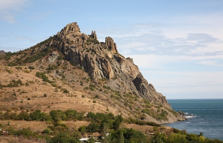 Ukraine. Crimea. Reserve Karadag. Mountains and repeater. photo