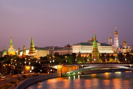 Russia, Moscow, night view of the Moskva River, Bridge and the Kremlin 写真素材