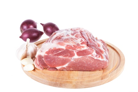 raw meat on white background photo