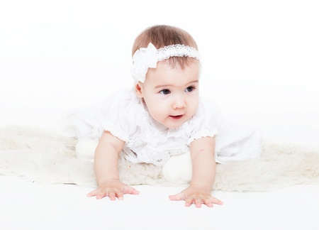 charming babe in a white dress Stock Photo - 11693390