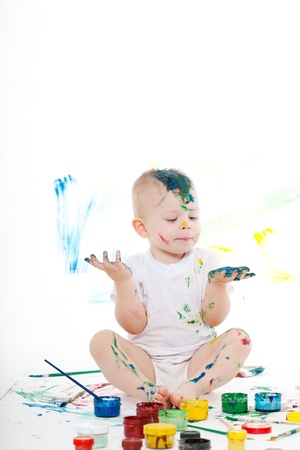 boy bedaubed with bright colors Stock Photo - 12081433