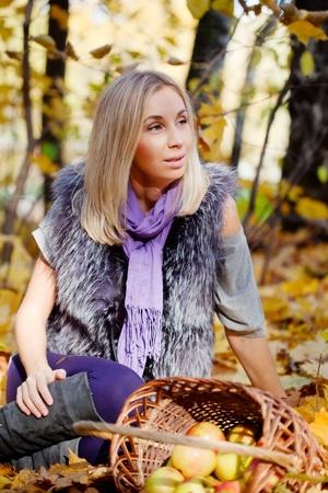 beautiful  girl on walk in autumn park photo
