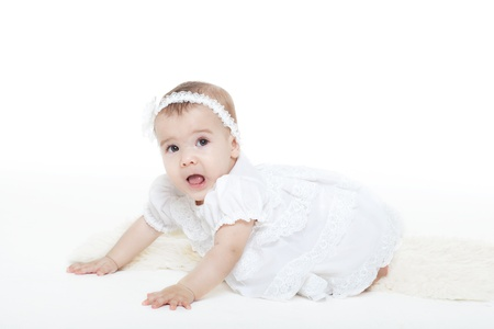 charming babe in a white dress Stock Photo - 12720222