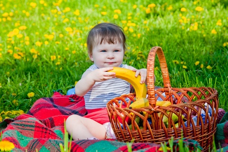 Child having picnic in summer park photo