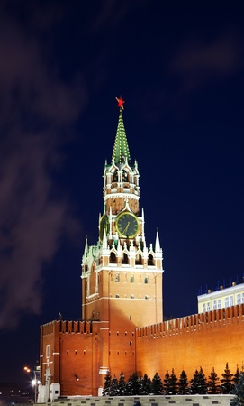 Spasskaya tower of Kremlin, night view. Moscow, Russia Stock Photo - 12953467
