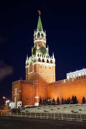 Spasskaya tower of Kremlin, night view. Moscow, Russia photo