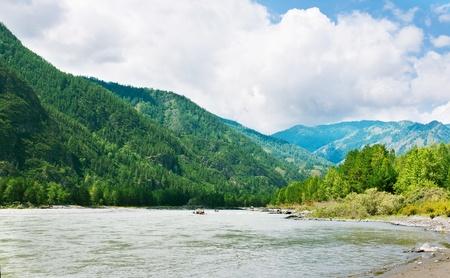 Mountains river with rocky riverside. Katun, Altai, Siberia photo