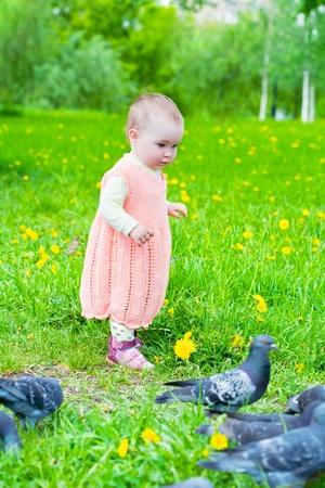 girl in pink dress feeding pigeons photo