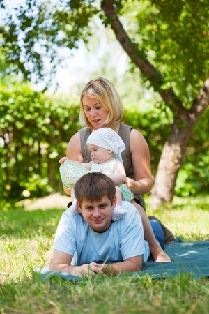 Family having picnic in park Stock Photo - 13365917