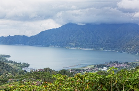 big lake at the volcano bottom Batur, Bali, Indonesia photo