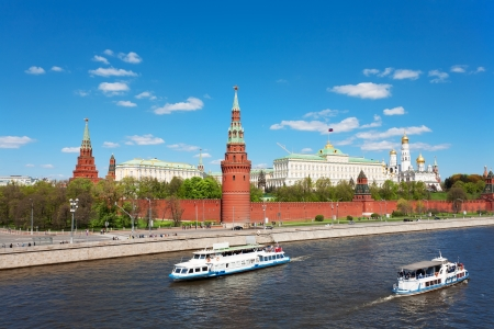 Kind to the Moscow Kremlin, Grand Kremlin Palace, Cathedrals and quay Moskva River photo