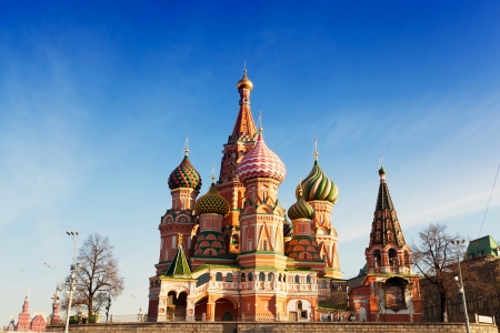 St. Basils Cathedral in Moscow against the blue sky in a sunny day photo