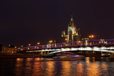 High-rise building on Kotelnicheskaya Embankment in Moscow with night illumination Stock Photo - 14216127