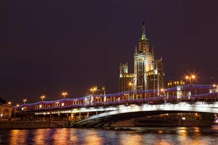 kotelnicheskaya embankment: High-rise building on Kotelnicheskaya Embankment in Moscow in the night from festive illumination Stock Photo