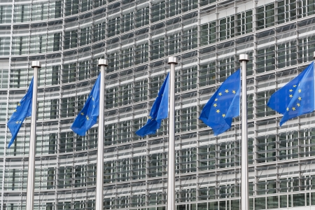 European Union flags in front of the Berlaymont building in Brussels, Belgium  photo