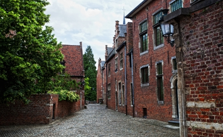 middleages: Road of typical houses from the Groot Begijnhof (Big Beguinage)in Leuven, Belgium  Stock Photo