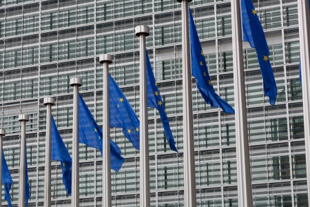 European Union flags against the European Parliament building photo