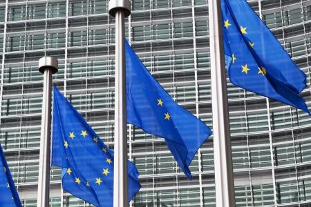 Drapeaux de l'Union européenne contre le bâtiment du Parlement européen Banque d'images