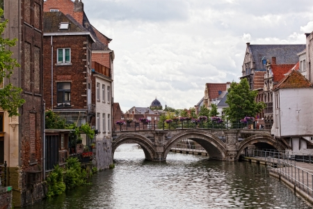 Ancient houses and water canals in the Belgian city of Mechelen (Malines).