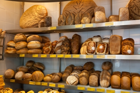 bakery products: Various bakery products on a shop counter Stock Photo