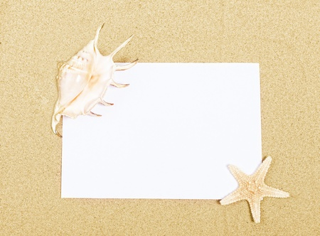 Clean sheet of paper, starfish and sink on sand Stock Photo - 14827474