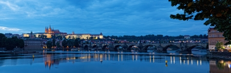 Night view of Prague -  river Vltava, Gradchany, St. Vituss cathedral photo