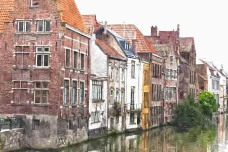 Channel in center of Ghent, Belgium (stylization under water color drawing) photo