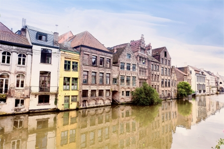 Channel in center of Ghent, Belgium (pencil sketch) photo