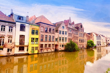 Channel in center of Ghent, Belgium ( water color drawing) photo