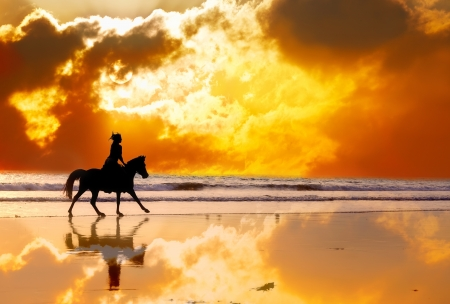 Silhouette of the girl skipping on a horse on an ocean coast on a sunset photo