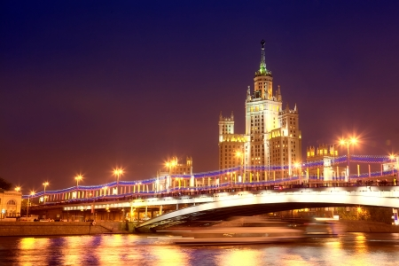High-rise building on Kotelnicheskaya Embankment in Moscow in the night from festive illumination Stock Photo - 15103009