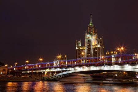 kotelnicheskaya embankment: High-rise building on Kotelnicheskaya Embankment in Moscow in the night from festive illumination