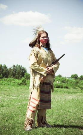 swarty: North American Indian in full dress  Reconstruction