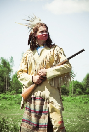 red skinned: North American Indian in full dress  Reconstruction