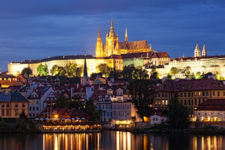 Night view of Prague - river Vltava, Gradchany, St. Vitus's cathedral  photo