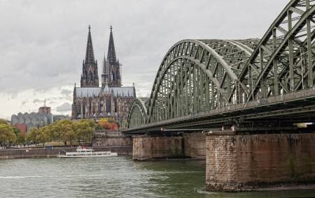rhine: Cologne Cathedral and river Rhine