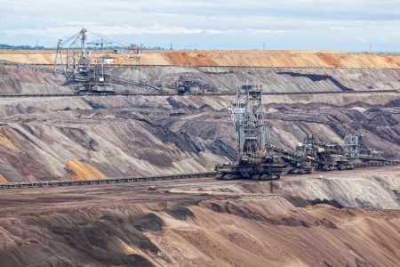 Bucket-wheel excavator in an open pit. landscape with extractive industry