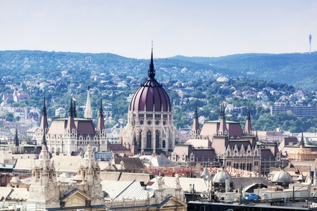 View of Parliament in Budapest from an observation deck on Sacred Stephane