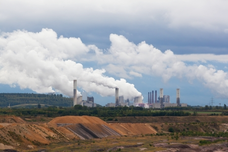 dragline: Thermal power plant against an open coal pit