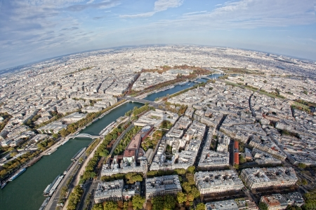 View of Paris from height of bird's flight photo